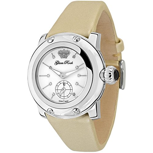 Glam Rock Women's Palm Beach 40mm Gold-Tone Leather Band Steel Case Swiss Quartz White Dial Watch GR40504N