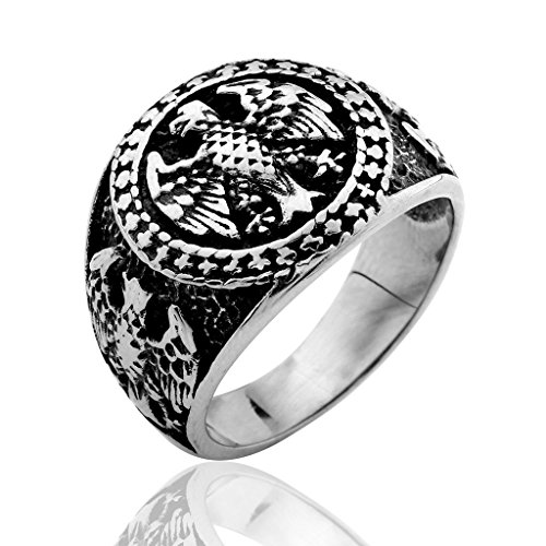 masop-stainless-steel-eagle-spread-wing-hawk-ring-band-mens-tribal-size-w