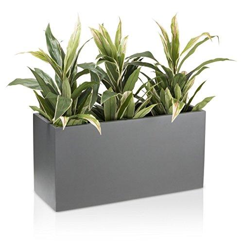 Pflanzkübel Blumentrog VISIO Fiberglas Blumenkübel - Farbe: grau matt - großer wetter- und winterfester Pflanztopf für Innen & Außen, robuster & UV-beständiger Pflanztrog