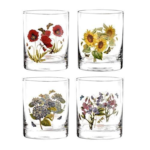 Portmeirion Botanic Garden Double Old Fashioned Tumbler Floral Glas-Set von 4 (Gläser Double Fashioned Old)