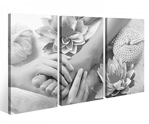Leinwandbild 3 Tlg. Wellness Massage Fuß Pediküre Spa Leinwand Bild Bilder auf Keilrahmen Holz - fertig gerahmt 9O901, 3 tlg BxH:90x60cm (3Stk 30x 60cm) (Spa Pediküre)