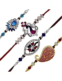 Mahi With Crystal Gold & Rhodium Plated Pink, White, Blue Beads Delight Combo Of 4 Rakhi For Men/Boys_ Co1104522M