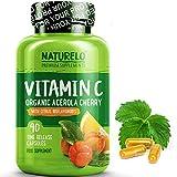 NATURELO Premium Vitamin C with Organic Acerola Cherry and Citrus Bioflavonoids - Whole Food Powder Supplement - Not Synthetic Ascorbic Acid - 500 mg - Non-GMO - Raw Vegan - 90 Capsules from NATURELO