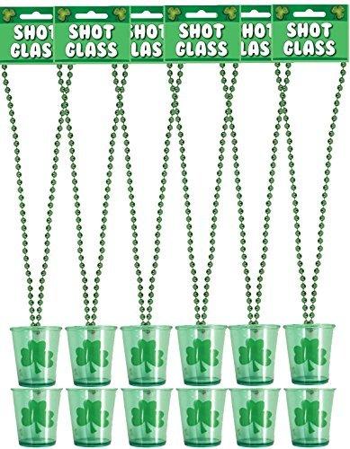 12 x St Patricks Tag Shot-gläser Neuheit Irisches Kleeblatt Trink Glas mit Halskette