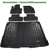 Ame Set - Auto-Gummimatten Fußmatten mit Schmutzrand, Anti-Rutsch Oberfläche und Befestigungskit + Kofferraum-Wanne, Schutzmatte für Den Laderaum/Kofferraum