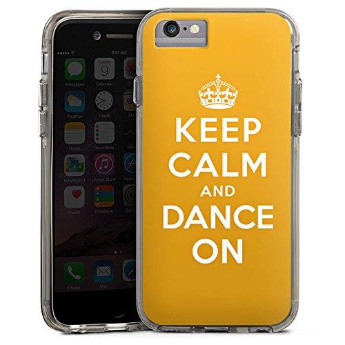 Apple iPhone 7 Bumper Hülle Bumper Case Glitzer Hülle Keep Calm Tanzen Dance Bumper Case transparent grau