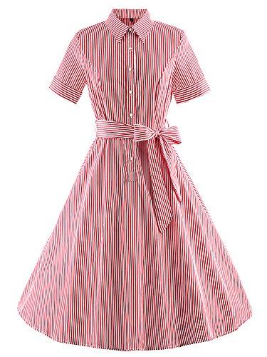 Vintage Rockabilly gestreiften Kleid Hepburn Stil Partykleid Cocktailkleid 80er Jahr Abendkleid (Plus Size 80er Jahre Kostüme)