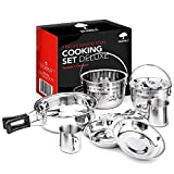 BRAMBLE! 10 Piece Camping Cooking Set, Heavy Duty Stainless Steel, Compact but Ample