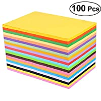 SUPVOX Pastels Copy Paper 100 PCS Assorted Rainbow Colored Printer Paper Perfect for School and Craft Projects Size A4