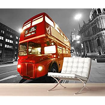 Stickerswall London City Classic Vintage Red Bus Night Scenery View