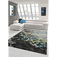 Traum Designer rug Contemporary rug living room carpet floral motif gray turquoise green white size 160x230 cm