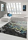 Designer Teppich Moderner Teppich Wohnzimmer Teppich Blumenmotiv Grau Türkis Grün Weiss Größe 160x230 cm