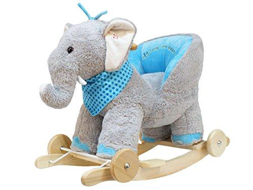 Dunjo® Schaukeltier Elefant mit Babysitz | Plüsch Baby Schaukel-Elefant aus Holz | Schaukelpferd mit Rollen und Soundmodul | ab 12 Monaten