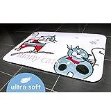 Tatkraft Funny Katzen Badteppich Ultra Soft rutschfeste Mikrofaser, Mikrofaser, Weiß, 50x 80x 1,5cm