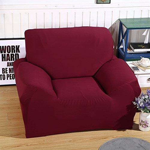 ele ELEOPTION Sofa Überwürfe Sofabezug Stretch elastische Sofahusse Sofa Abdeckung in Verschiedene Größe und Farbe Herstellergröße 95-140cm (Weinrot, 1 Sitzer für Sofalänge 90-130cm)