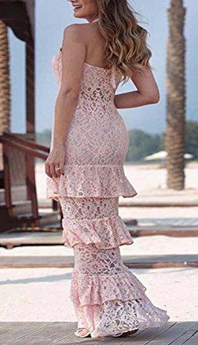 Donne Della Cocktail Di Sera Abito Senza Maniche Vestito Pink