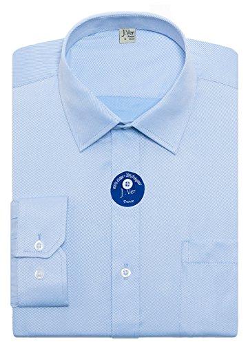 J.ver camicie da uomo vestibilità regolare manica lunga solido collare camicie formali aziendali - colore:spigato blu, dimensione:eu 47 - Ärmellänge 89 cm