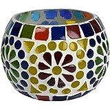 White Mosaic Glass Tealight Candle Holder Handmade Handicraft For Home Decor Gift Item