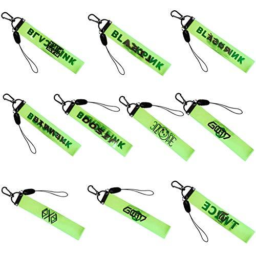 GOTH Perhk Kpop Schlüsselband mit Metallverschluss für Schlüsselanhänger, Kamera, Handy, Schwarz/Pink, 10 Stück