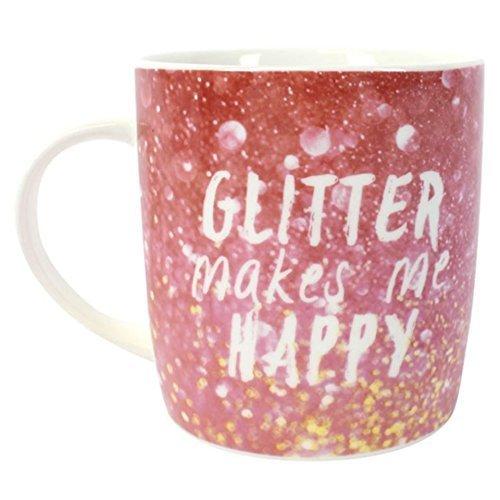 Glitter rosa lilla pot mug Cup eticamente Gift Unicorn boxed Bone (Bone China Crema)