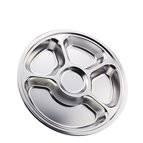 FG.X.YL Edelstahl, leichte Snacks CD-Fach Trennung Mahlzeit Boxen Reis große, runde 5, 3 große Kantinen, auf Reis, dicke, runde Scheibe5Grid -