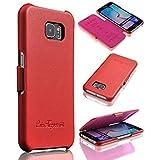 Ledertasche für Samsung Galaxy S6 - ***ECHT LEDER - HANDGEFERTIGT*** - Hülle Case Etui Flip Case Schutzhülle - ROT - CoinKeeper