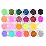 Nail Art Nagel Glitzer Pulver Glitter Puder Mix Farben 24tlg Nageldesign
