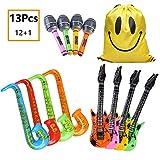 MIMIEYES Aufblasbare Instrumente Rock Star Spielzeug Set für Party Inflatables Gitarre Saxophon Mikrofon Ballons für Musica Party (12 Stücke Zufällige Farbe)
