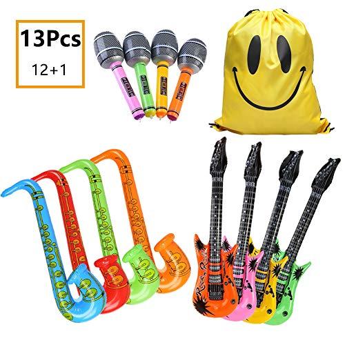 (MIMIEYES Aufblasbare Instrumente Rock Star Spielzeug Set für Party Inflatables Gitarre Saxophon Mikrofon Ballons für Musica Party (12 Stücke Zufällige Farbe))