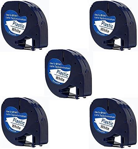 5 x 91201 / S0721610 Noir sur Blanc Ruban Cassette compatible pour Dymo LetraTag LT100H LT100T LT110T QX50 XR / 12mm x 4m / Plastique