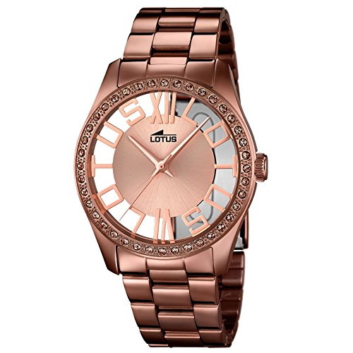 LOTUS 18129/1 - Reloj de señora colección Trendy, cadena y caja de acero chapado en marron