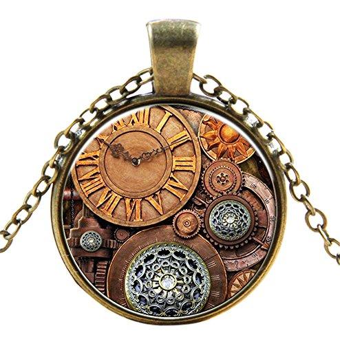 Ultra ® Watch Zahnräder Stil Classic Unisex Steampunk Halskette Great Style Unisex Gothic Cosplay Vintage Cyber Männer Frauen Schmuck Cosplay Schädel Zahnräder Designs (Zahnradstil Beobachten)