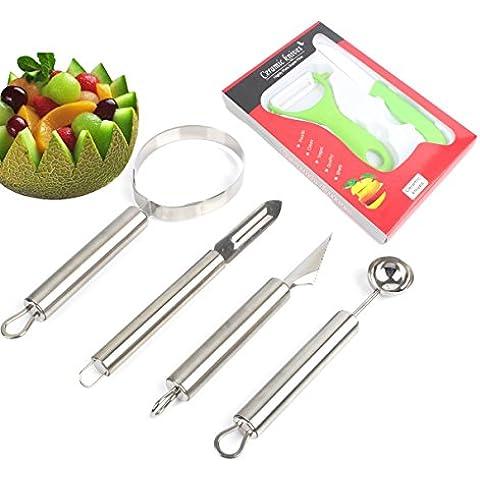 Confezione da 6 pezzi, motivo: frutta e verdura in acciaio