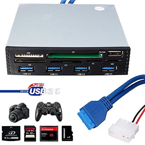 vzer 8,9cm Front Panel 4Ports USB 3.0HUB + 6Slot Card Reader Port für PC Computer Floppy Disk Position - 8 Motherboard Speicherkarten-slot
