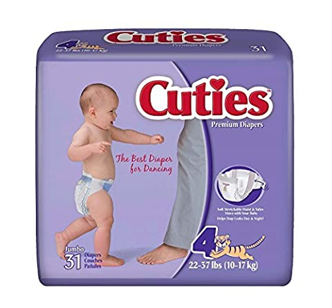 Prevail Cuties Baby Diapers Size 4, 22 - 37 lbs. [Bag of 31] by First Quality