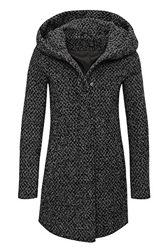 Solo donne cappotto onlindie Sedona Petit lungo lana cappotto Dark Grey Mela Medium