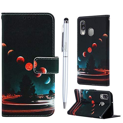 Samsung Galaxy A40, Gemalt Design Flip PU Leder mit TPU innerer Handyhülle Klappbares Brieftasche Schutzhülle Wallet Case Cover Tasche mit Karteneinschub,Wandernde Erde ()