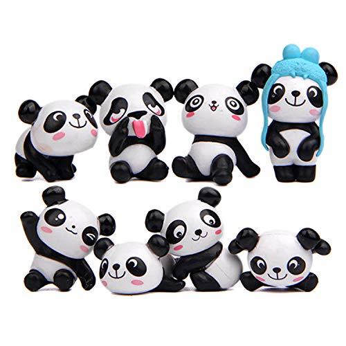 8 stücke Mini Niedlichen Panda Figuren Spielzeug Kuchen Topper für DIY Micro Landschaft Fee Bonsai Garten Dekorationen Geburtstag Kuchen Dekor Party Favors (Fee-geburtstagskuchen)