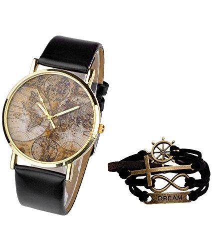 JSDDE Damen Mädchen Uhren Vintage Weltkarte Quarzuhr Armbanduhr Plus Infinity Wickelarmband, Schwarz