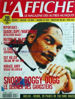 AFFICHE (L') [No 41] du 31/12/1996 - Le magazine des autres musiques 200 chroniques cds - outkast - aaliyah - da brat - wizards of ooze - ghostface killah - afro jazz reportages - guadeloupe - martinique - revolution ragga nation of islam - muslims made in usa ll coll j - superman pap cut killer - trilogie hip hop soul horace andy - reggae melancolie snoop doggy dogg - le dernier des gangsters inclus - remix 20 pages de culture house