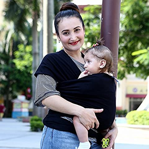 jysport, Canguro, Baby Care Sling: cotone organico, elastan. Premium Cotone Naturale neonati Baby Sling allattamento Sling morbido comodo e sicuro, Black