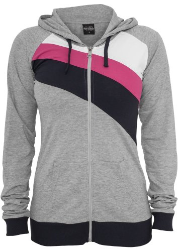 Urban classics dames 3 color jersey ziphoody tB467 coupe regular fit Multicolore - grey/navy/Fuchsia