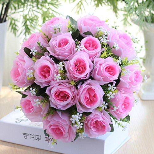 lumen,Künstliche Deko Blumen Gefälschte Blumen Seidenblumen Rosen Blumen 18 Köpfe Hochzeit Bouquet für Home Garden Party Hochzeit Dekoration (Rosa) (Bulk-dekorationen)