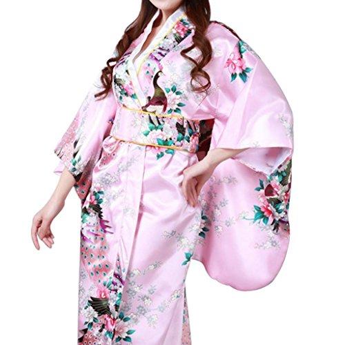 Hee Grand Damen Maedchen Sexy Kimono Kostuem Kleid Lange Kleid Blumen Kleid Phoenix Rosa