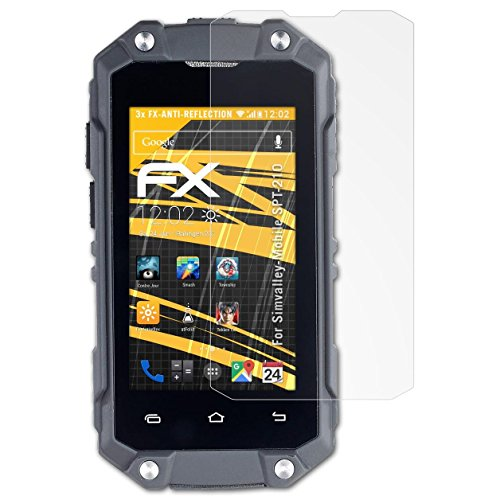atFolix Panzerfolie kompatibel mit Simvalley-Mobile SPT-210 Schutzfolie, entspiegelnde & stoßdämpfende FX Folie (3X)