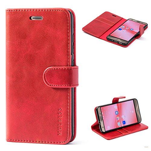 Mulbess (Vintage bookstyle) Premium Handy Schutzhülle Ledertasche im Kartenfach für ASUS ZenFone 3 ZE552KL (5,5 Zoll) Tasche Hülle Leder Etui Schale,Weinrot