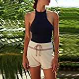 masrin Sommer Strand Weste Top ärmellose Bluse Casual Tank lose Tops T-Shirt (schwarz, l)