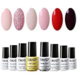 Elite99 Smalto Semipermente per Unghie in Gel UV LED 8pzs Colori Kit per Manicure Smalti Gel per Unghie Soak Off Base Coat Top Coat - Set002