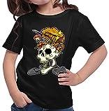 HARIZ  Mädchen T-Shirt Skelett Kopf Explosion Gamer Gaming Sprüche WASD Level Plus Geschenkkarten Schwarz 140/9-11 Jahre