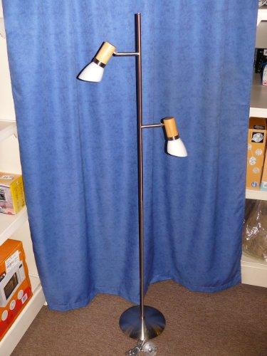 Stehleuchte Stahl mit Erle + Schutenglas weiß, 2x E14, 40W, Spot drehbar